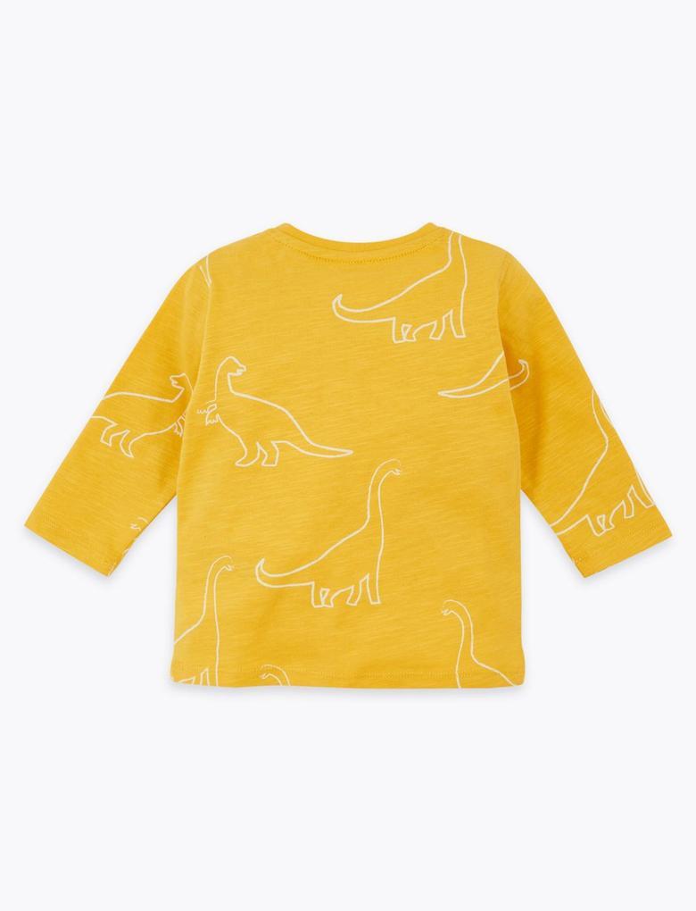 Bebek Lacivert 3'lü Dinozor Desenli T-Shirt Seti