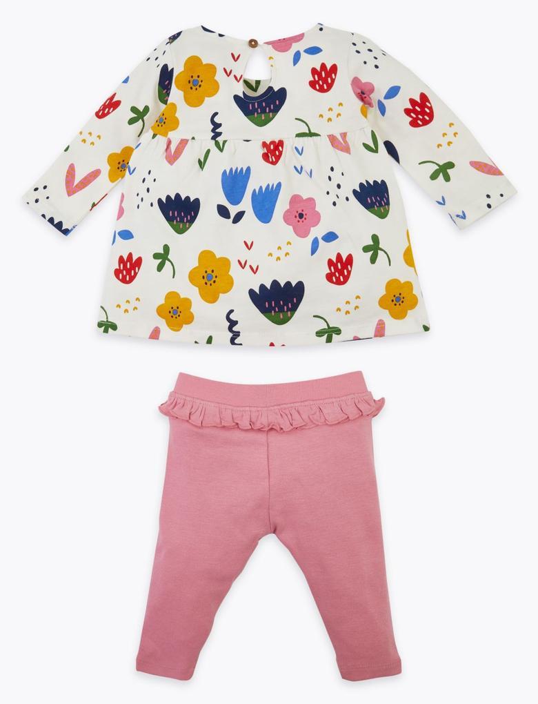 Bebek Mavi Çiçek Desenli Üst ve Alt Takımı