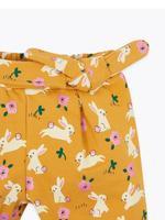 Bebek Sarı Pamuklu Tavşan Desenli Jogger Pantolon