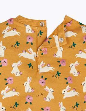 Bebek Sarı Pamuklu Tavşan Desenli Sweatshirt