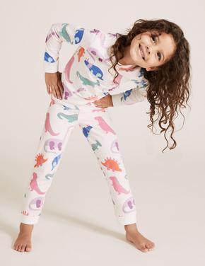 Çocuk Pembe Pamuklu Dinozor Desenli Pijama Takımı