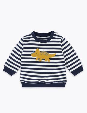 Bebek Lacivert Dinozor Desenli Sweatshirt
