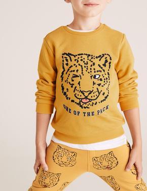 Erkek Çocuk Sarı Pamuklu Kaplan Baskılı Sweatshirt