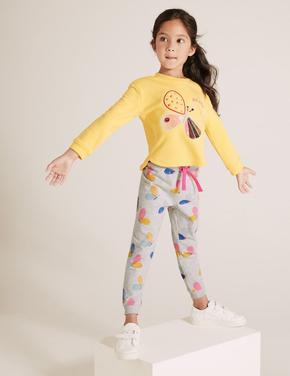 Kız Çocuk Gri Pamuklu Kelebek Desenli Eşofman Altı