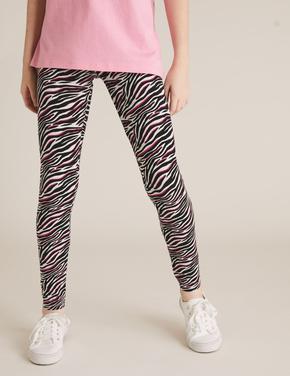 Kız Çocuk Siyah Zebra Desenli Tayt