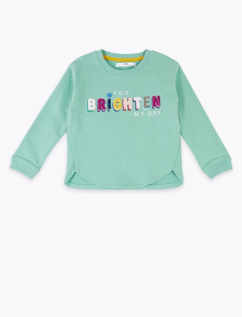 Kız Çocuk Yeşil Sloganlı Uzun Kollu Sweatshirt