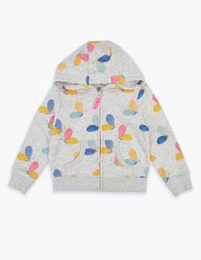 Kız Çocuk Gri Kelebek Desenli Kapüşonlu Sweatshirt