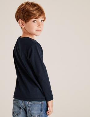 Erkek Çocuk Lacivert Saf Pamuklu Sloganlı T-Shirt