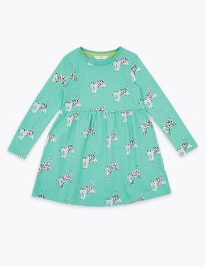 Kız Çocuk Pembe Kaplan Desenli Elbise