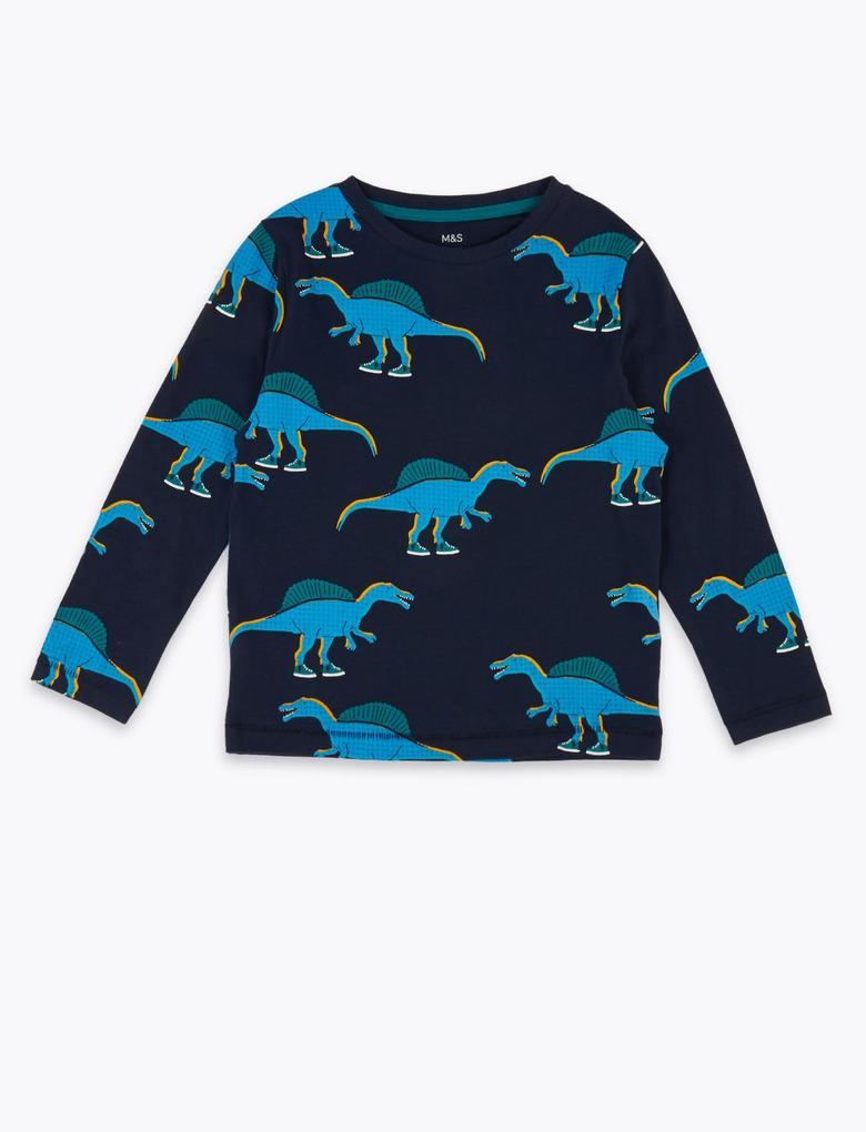 Erkek Çocuk Lacivert Pamuklu Dinozor Desenli T-Shirt