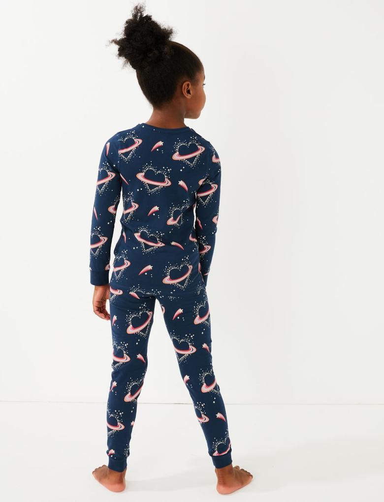 Çocuk Mavi Pamuklu Kalp Desenli Pijama Takımı