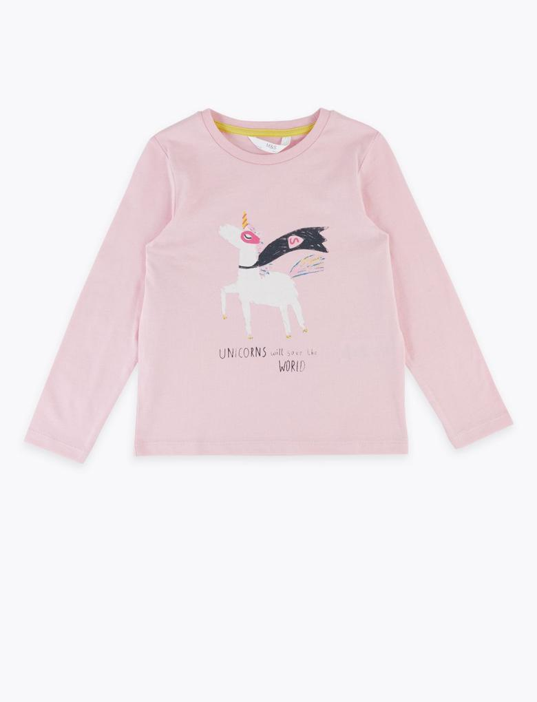 Kız Çocuk Pembe Unicorn Desenli T-Shirt