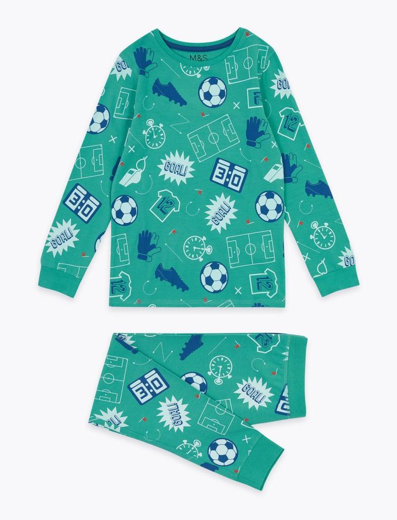 Çocuk Yeşil Futbol Desenli Pijama Takımı