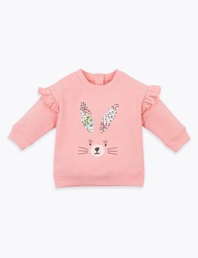 Bebek Pembe Tavşan Detaylı Sweatshirt