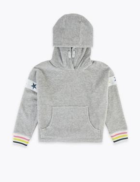 Kız Çocuk Gri Yıldız Detaylı Kapüşonlu Sweatshirt