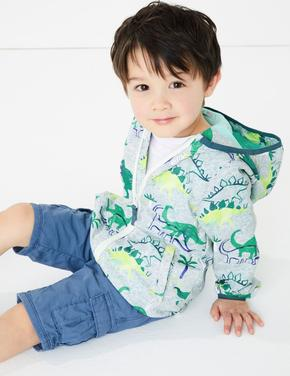 Erkek Çocuk Gri Dinozor Desenli Rüzgarlık