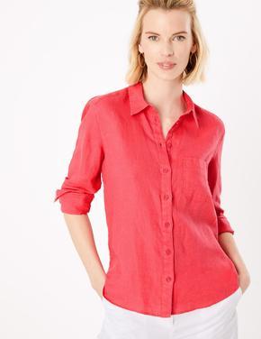 Kadın Kırmızı Uzun Kollu Keten Gömlek