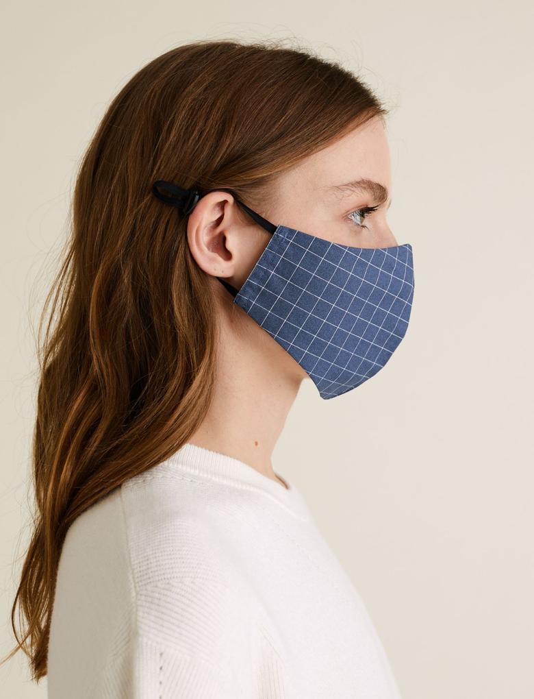 Ev Mavi 5'li Yıkanabilir  Yetişkin Yüz Maskesi