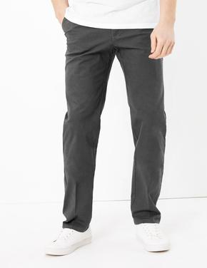 Erkek Gri Regular Fit Streç Chino Pantolon