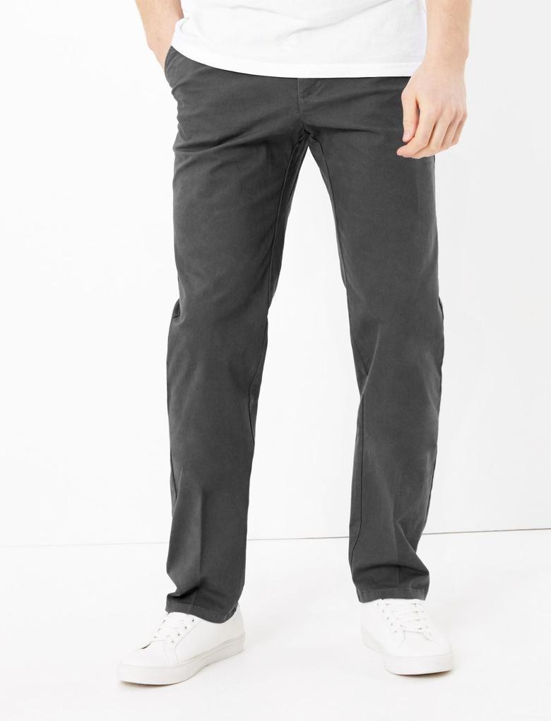 Erkek Gri Regular Fit Streç Chino Pantolon