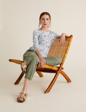 Kadın Krem Keten Karışımlı Desenli T-Shirt
