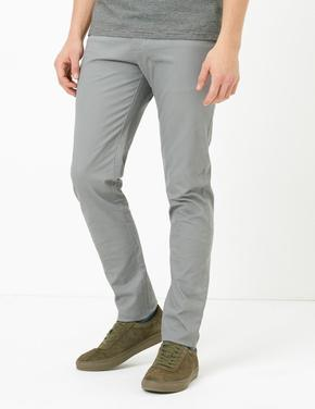 Gri Slim Fit Streç Chino Pantolon
