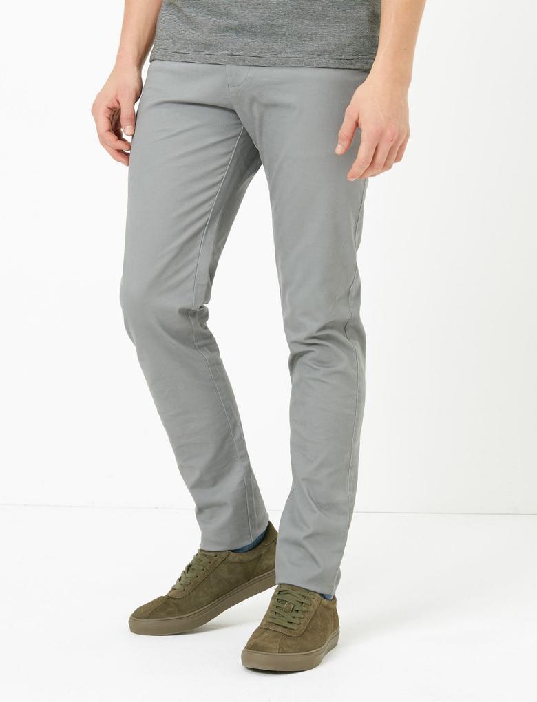 Erkek Gri Slim Fit Streç Chino Pantolon