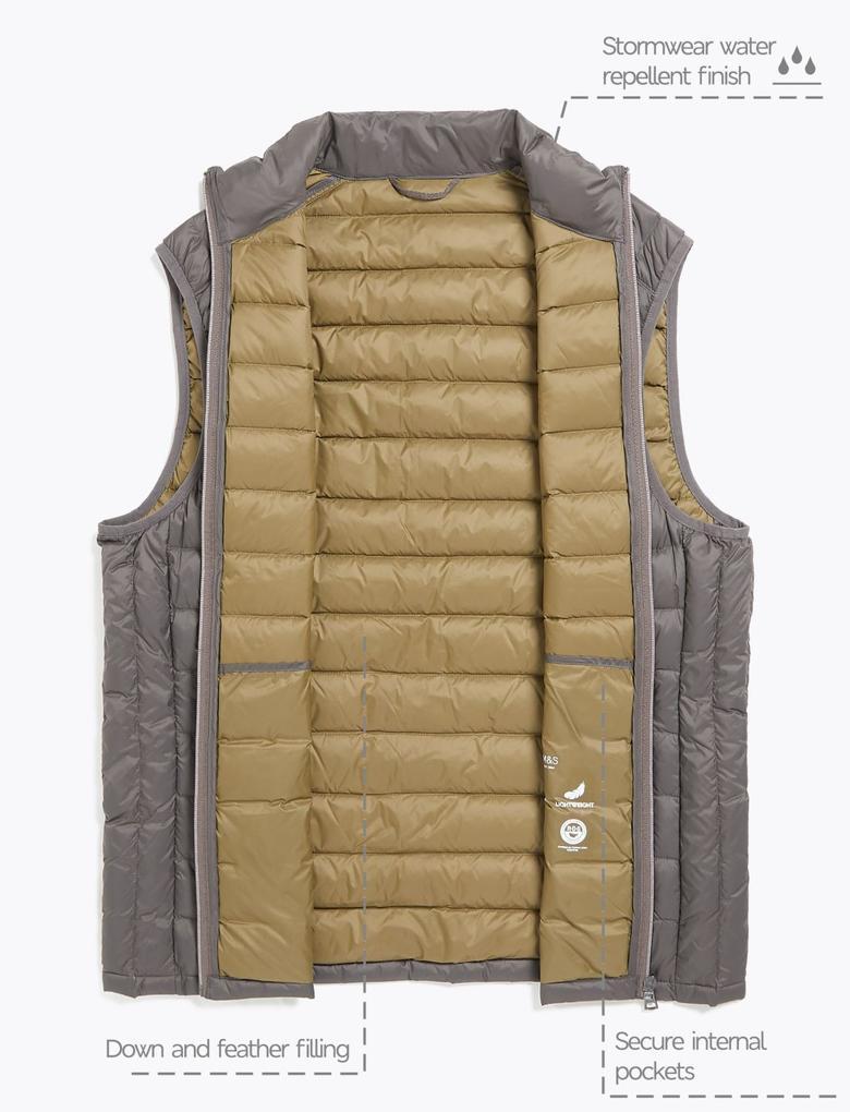 Kahverengi Hafif Kaz Tüyü (Down ve Feather) Yelek (Stormwear™ Teknolojisi ile)