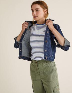 Kadın Mavi Saf Pamuklu Çizgili T-Shirt