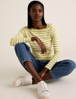 Kadın Sarı Saf Pamuklu Çizgili T-Shirt