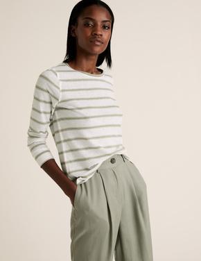 Kadın Yeşil Keten Karışımlı Çizgili T-Shirt