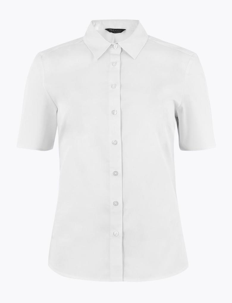 Kadın Beyaz Pamuklu Kısa Kollu Gömlek