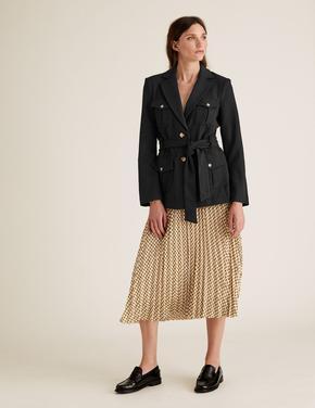 Kadın Siyah Kuşaklı Utility Ceket
