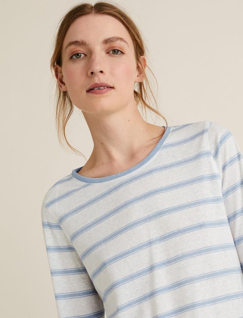 Kadın Mavi Keten Karışımlı Çizgili T-Shirt