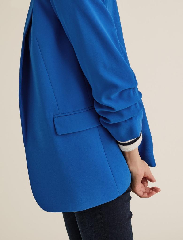 Kadın Mavi Kolları Büzgülü Blazer Ceket