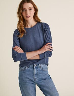 Kadın Mavi Keten Karışımlı Uzun Kollu T-Shirt