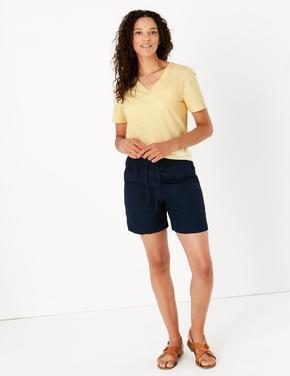 Kadın Sarı Saf Pamuklu V Yaka T-Shirt