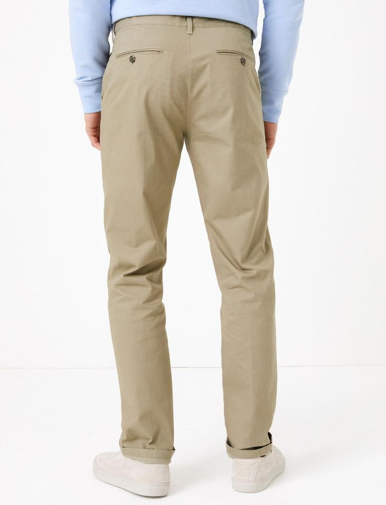 Gri Regular Fit Streç Chino Pantolon
