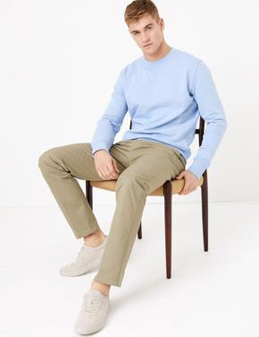 Gri Regular Fit Streç Chino Pantolon