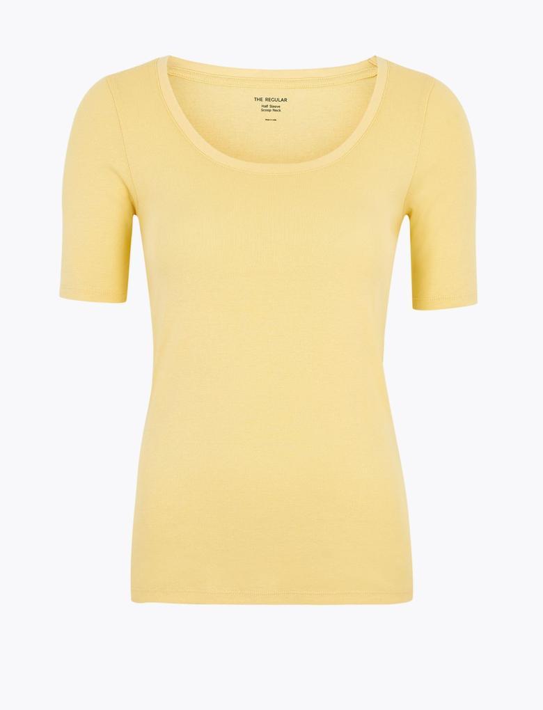 Kadın Multi renk Saf Pamuklu Kısa Kollu T-Shirt