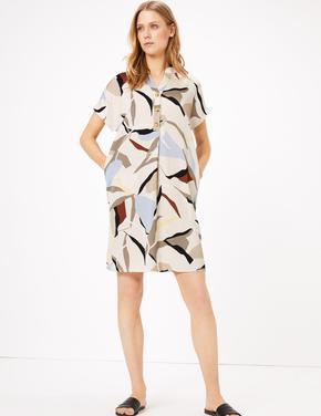 Kadın Multi Renk Geometrik Desenli Shift Elbise