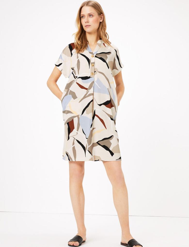 Kadın Multi Renk Kısa Kollu Desenli Elbise
