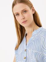 Kadın Mavi Kısa Kollu Desenli Elbise
