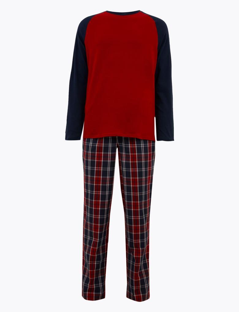 Erkek Turuncu Saf Pamuklu Ekose Pijama Takımı