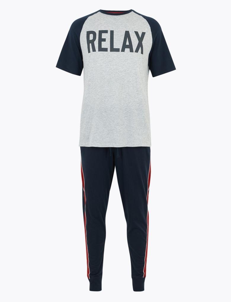 Erkek Lacivert Saf Pamuklu Sloganlı Pijama Takımı