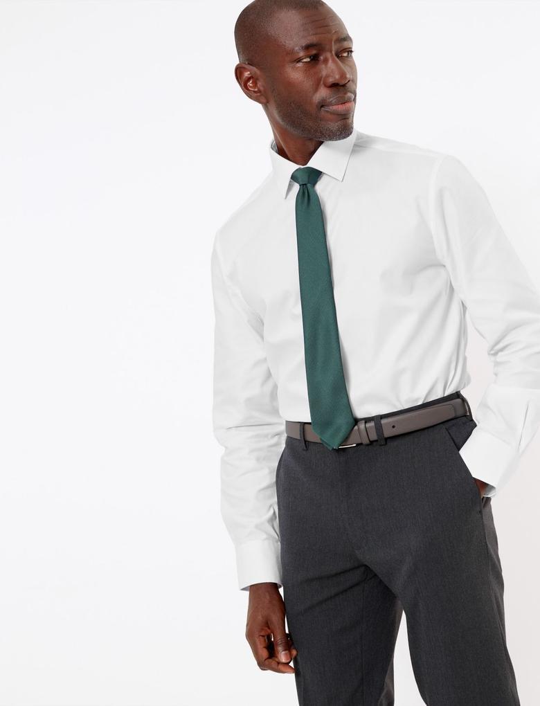 Erkek Beyaz Kolay Ütülenebilir Regular Fit Gömlek
