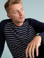 Erkek Mavi Saf Pamuklu Çizgili Pijama Takımı