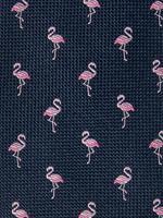 Lacivert Flamingo Desenli Örgü Kravat