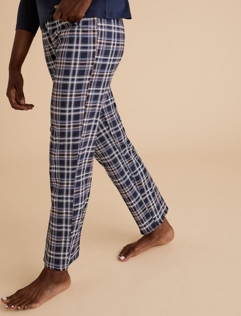 Kadın Lacivert Saf Pamuklu Ekose Pijama Takımı