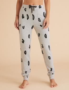 Kadın Gri Flexifit™ Desenli Pijama Altı